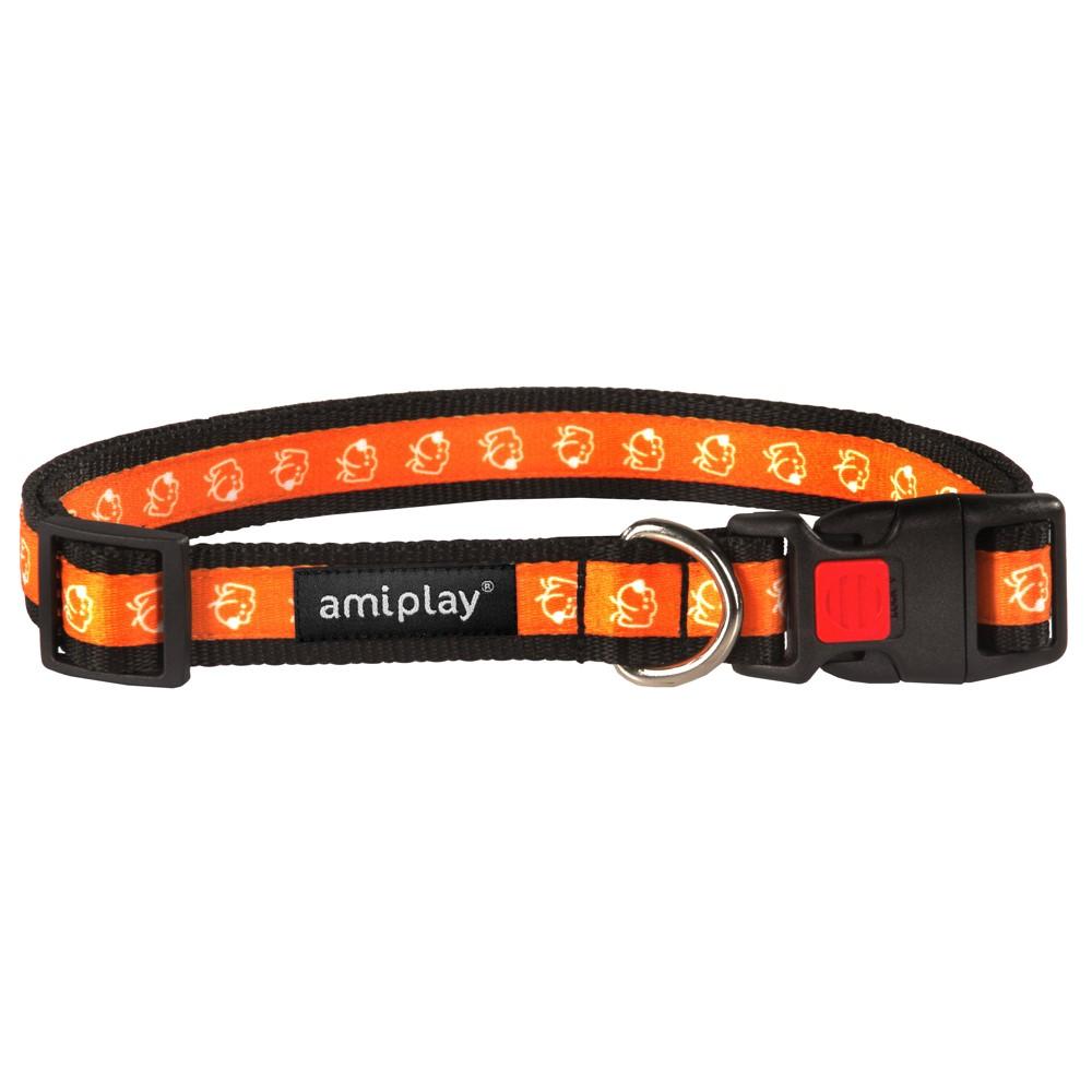 Obojek pro psa nylonový - bezpečnostní - oranžový se vzorem pes - 2 ... f0615a9cd7