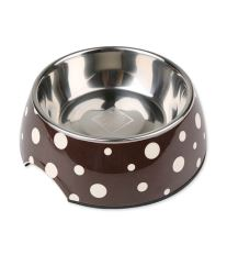Miska DOG FANTASY nerezová hnědá + bílé puntíky 14 cm - 160 ml