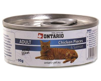 Ontario Chicken Pieces & Salmon konzerva - kuracie kúsky & losos 95 g