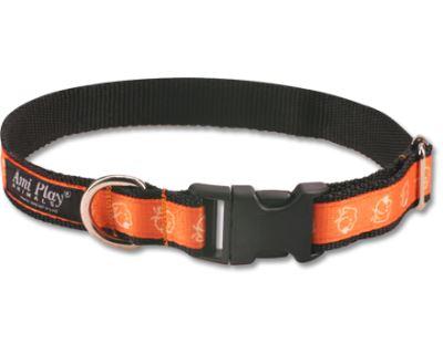 Obojek pro psa nylonový - oranžový se vzorem pes - 2 x 35 - 50 cm